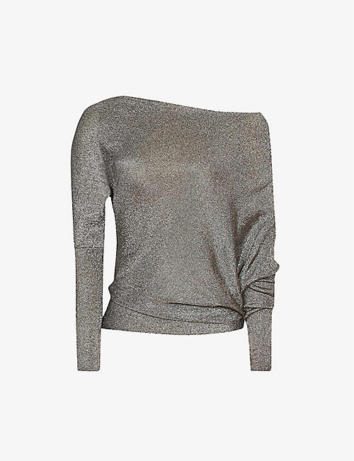 REISS: Isla metallic woven top