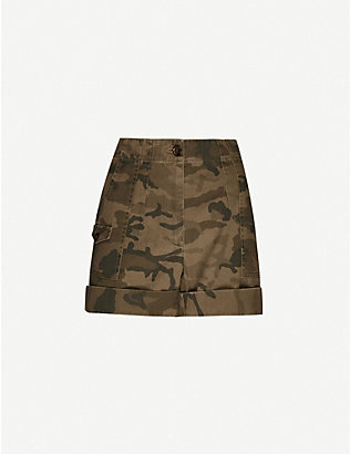 ME AND EM: Camouflage-print high-rise cotton cargo shorts