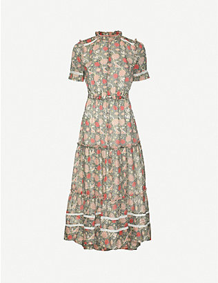 ME AND EM: William Morris paisley-print crepe midi dress