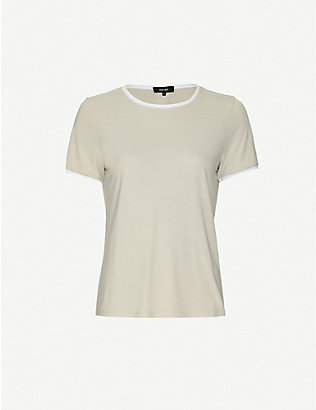 ME AND EM: Contrast-trim lyocell-blend jersey T-shirt