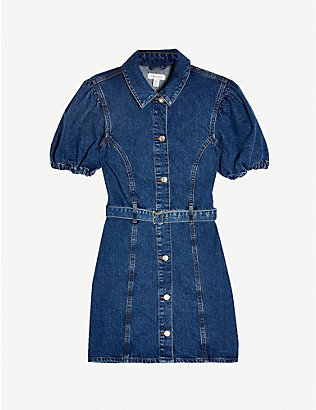 TOPSHOP: Puffed sleeve denim mini dress