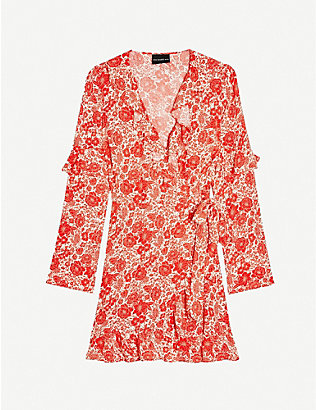 TOPSHOP: Floral-print ruffled woven mini dress