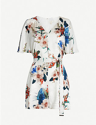 TED BAKER: Jamboree Lynnea V-neck woven playsuit