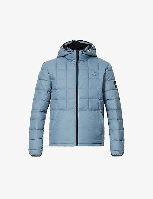 CK JEANS: Logo-print padded shell hooded jacket