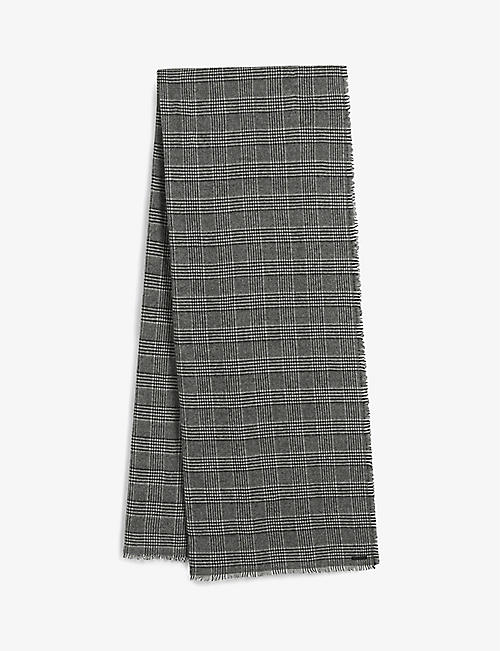 ALLSAINTS: Griffin checked wool-blend scarf