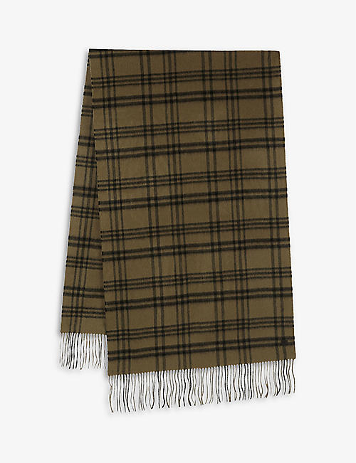 ALLSAINTS: Ash checked wool scarf