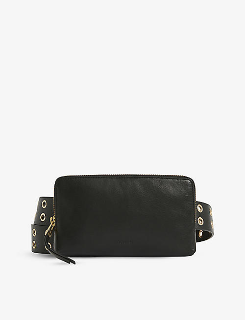 ALLSAINTS: Iryna eyelet-embellished leather bag belt