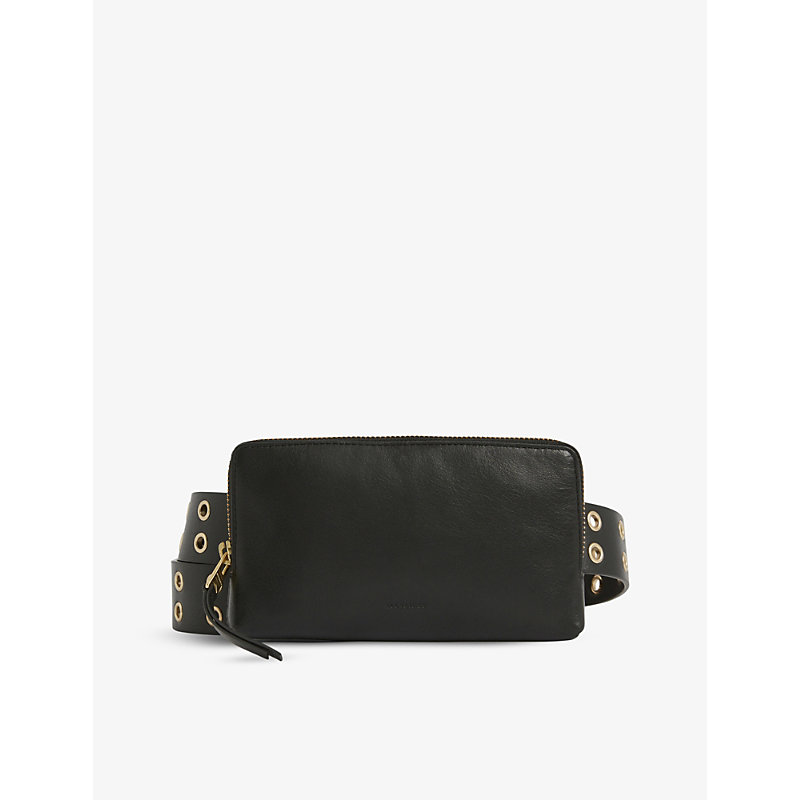 Allsaints IRYNA EYELET-EMBELLISHED LEATHER BAG BELT