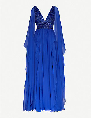 ZUHAIR MURAD: V-neck flared silk-blend chiffon gown