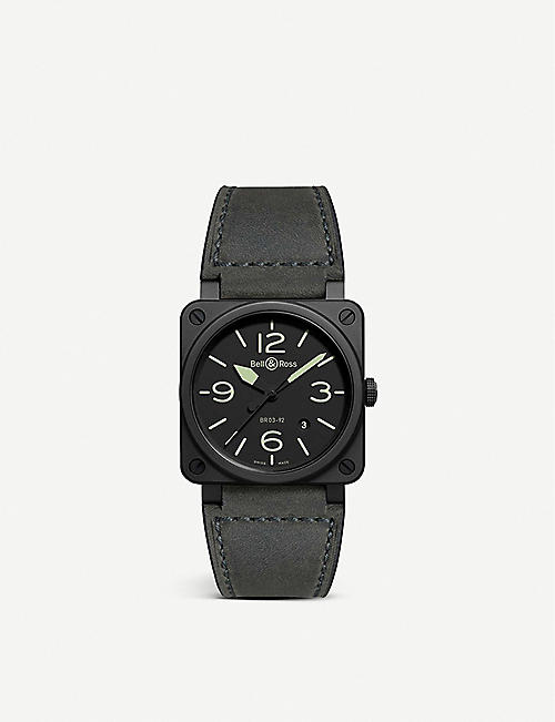 BELL & ROSS: BR 03-92 MA-1 ceramic and leather watch