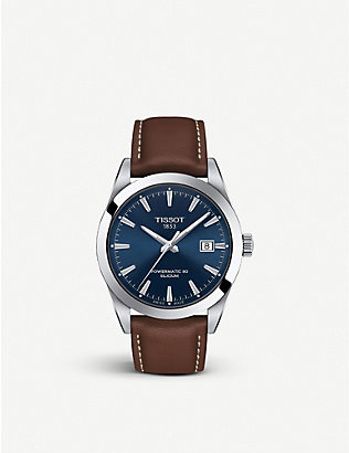 TISSOT: Gentlemen Automatic stainless-steel and leather watch