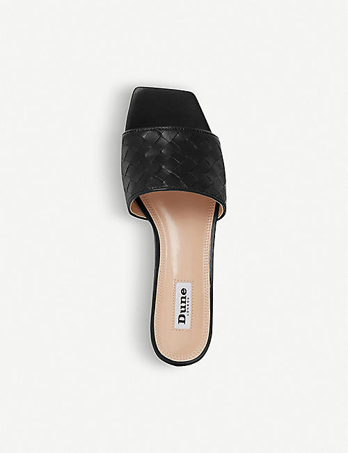 DUNE Lanndon woven faux-leather heeled mules