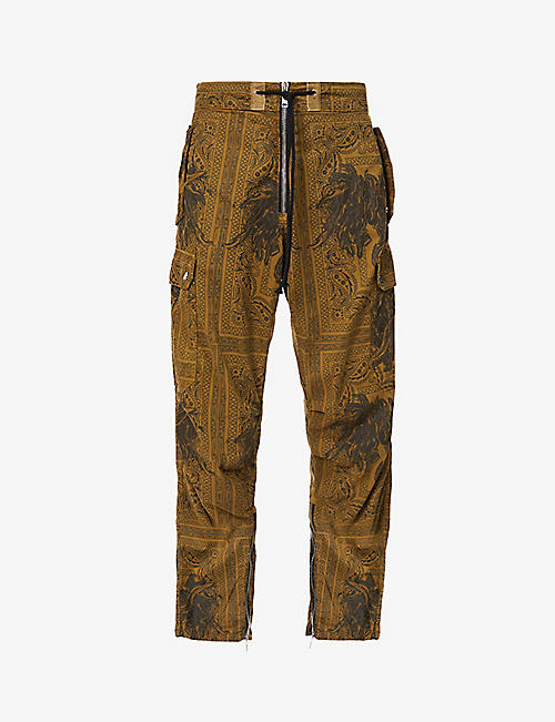 BILLY LOS ANGELES: Bandana-print tapered cotton trousers