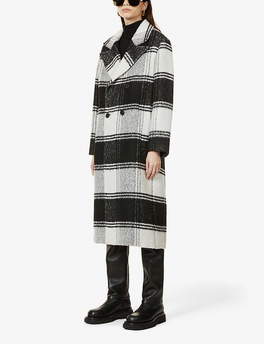ALLSAINTS: Lottie check-print double-breasted woven coat