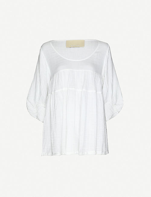 ANAAK: Brigitte ruffle-trim cotton-muslin mini dress