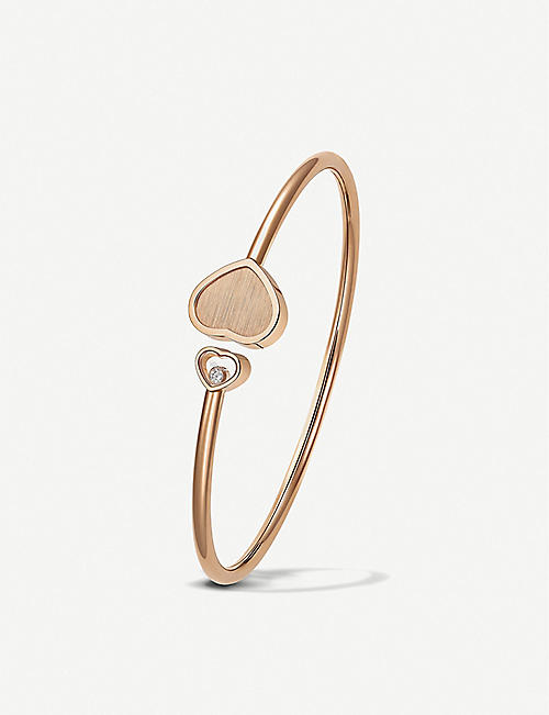 CHOPARD: Golden Hearts 18ct rose-gold and 0.19ct white-diamond bangle