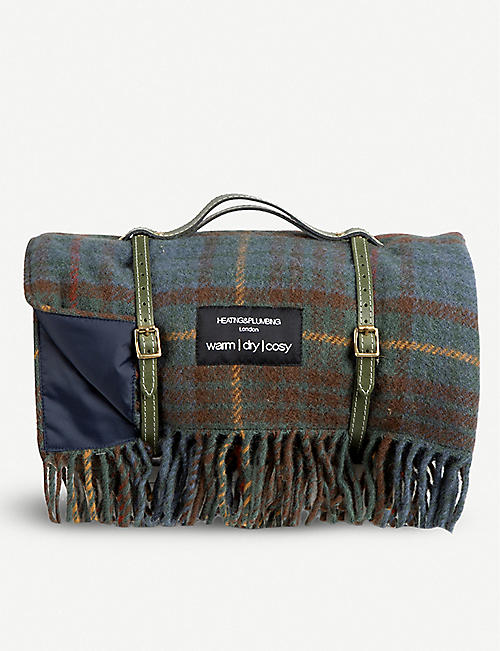 HEATING & PLUMBING LONDON: Classic Hunting Lodge check-print waterproof pure new wool picnic blanket 183cm x 145cm