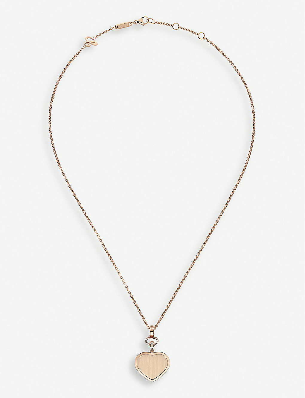 CHOPARD: Golden Hearts 18ct rose-gold and 0.05ct white-diamond pendant necklace