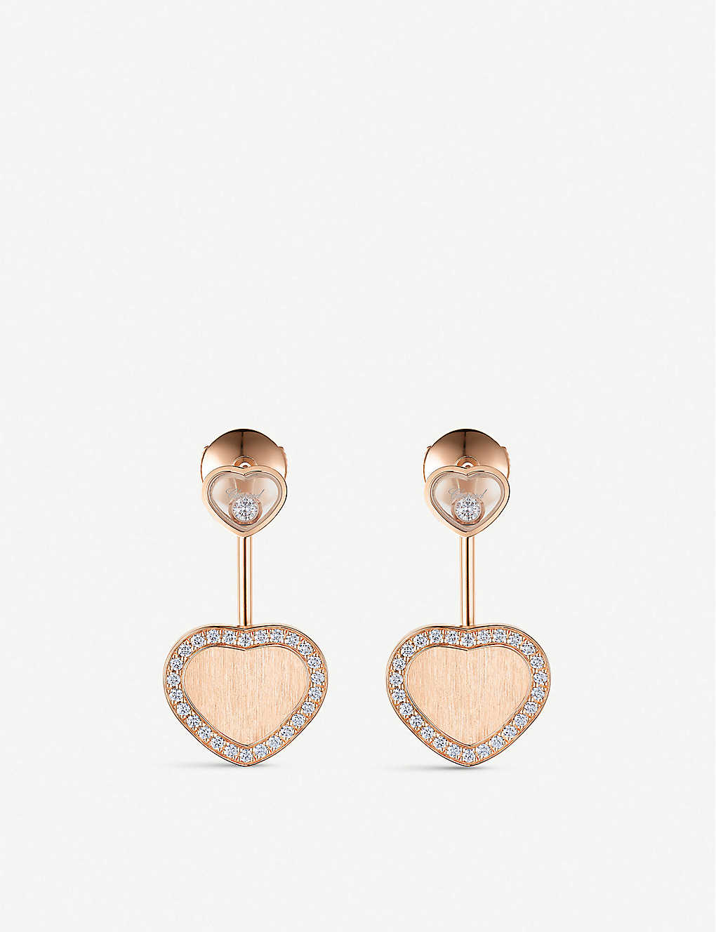 CHOPARD: Happy Hearts Golden Hearts 18ct rose-gold diamond earrings
