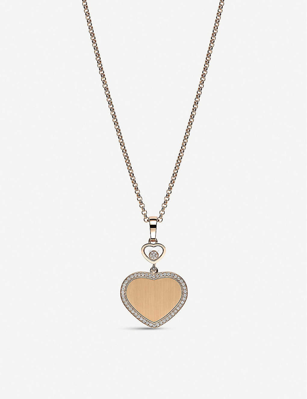 CHOPARD: Golden Hearts 18ct rose-gold and 0.24ct white-diamond pendant necklace