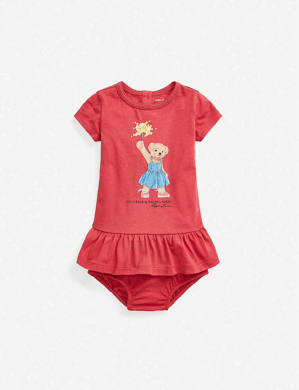 RALPH LAUREN: Bear-print cotton dress and bloomers set 3-24 months