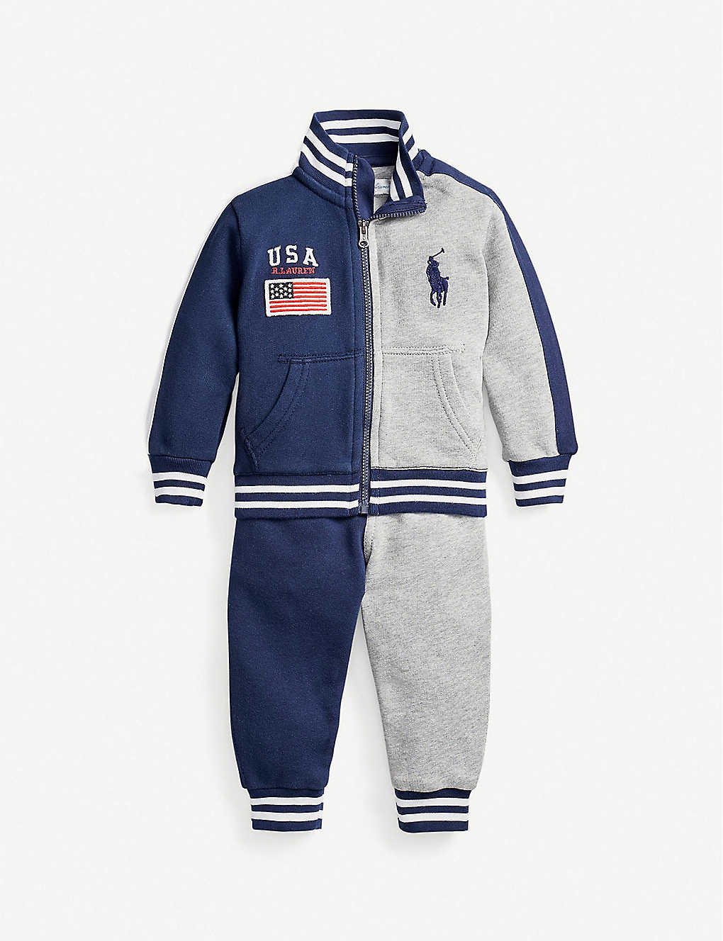 RALPH LAUREN: Striped-collar cotton jacket and jogging bottoms set 3-24 months