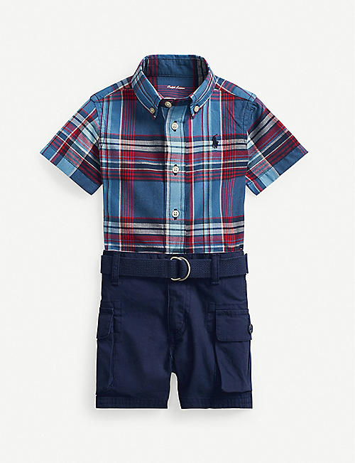 RALPH LAUREN: Checked cotton shirt and belted cotton shorts set 3-24 months