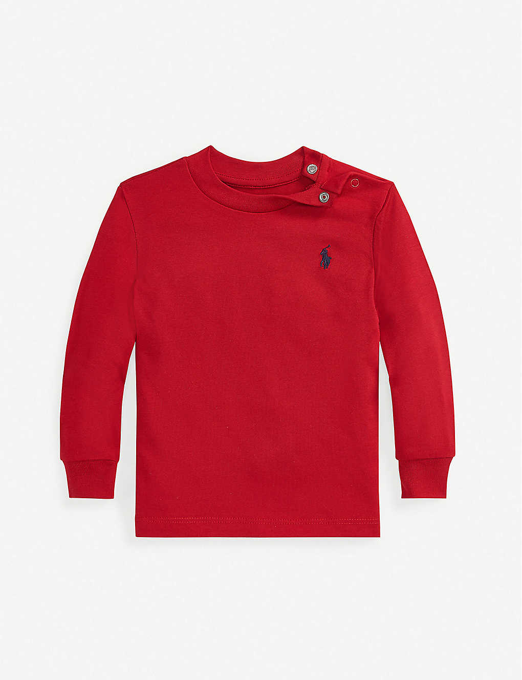 RALPH LAUREN: Logo-embroidered cotton-jersey top 3-24 months