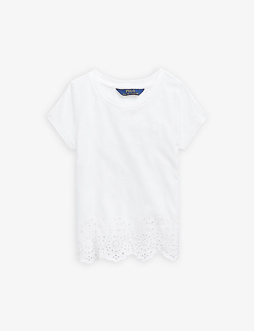 RALPH LAUREN: Broderie cotton T-shirt 2-14 years