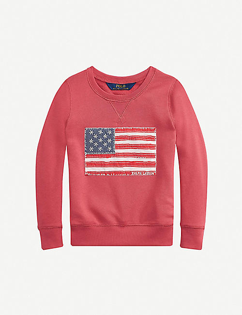 RALPH LAUREN: Floral-print appliquéd cotton-jersey sweatshirt 2-12 years