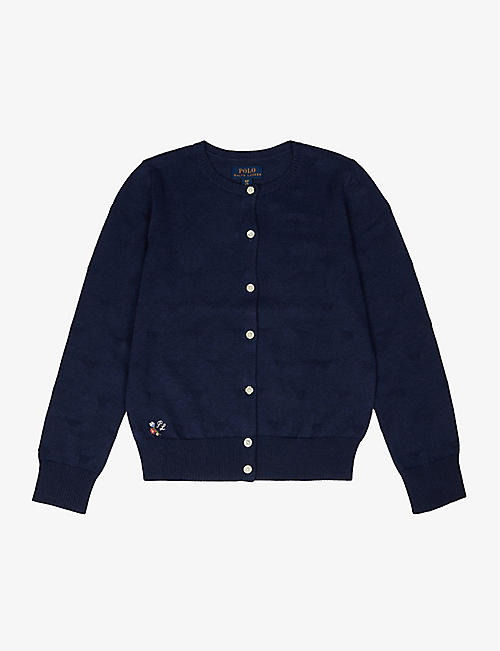 RALPH LAUREN: Heart-embroidered cotton cardigan 2-9 years