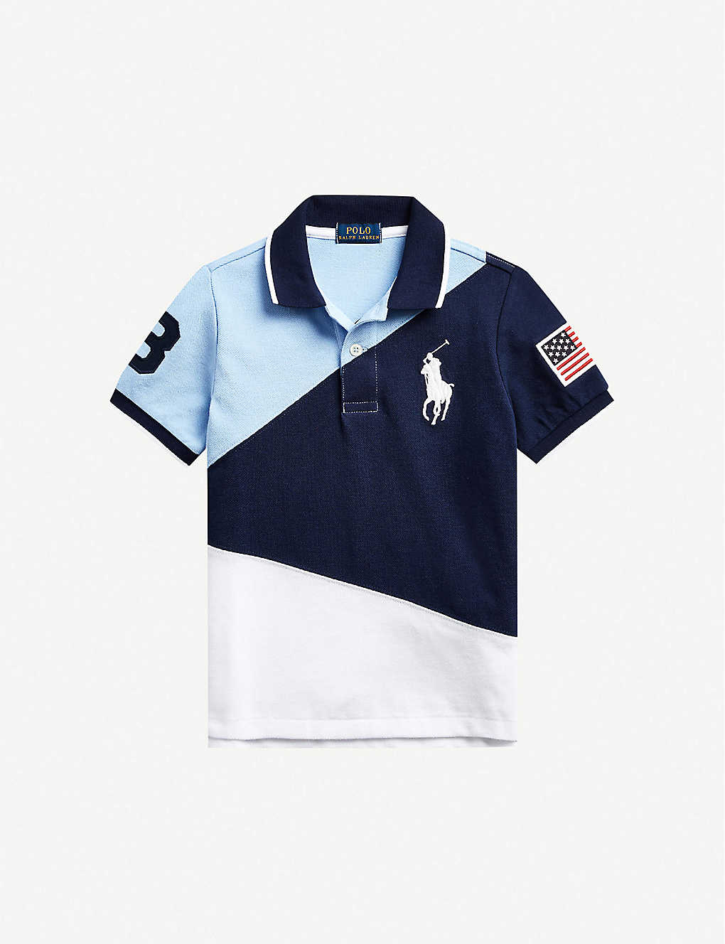 RALPH LAUREN: Number logo cotton polo shirt 2-14 years