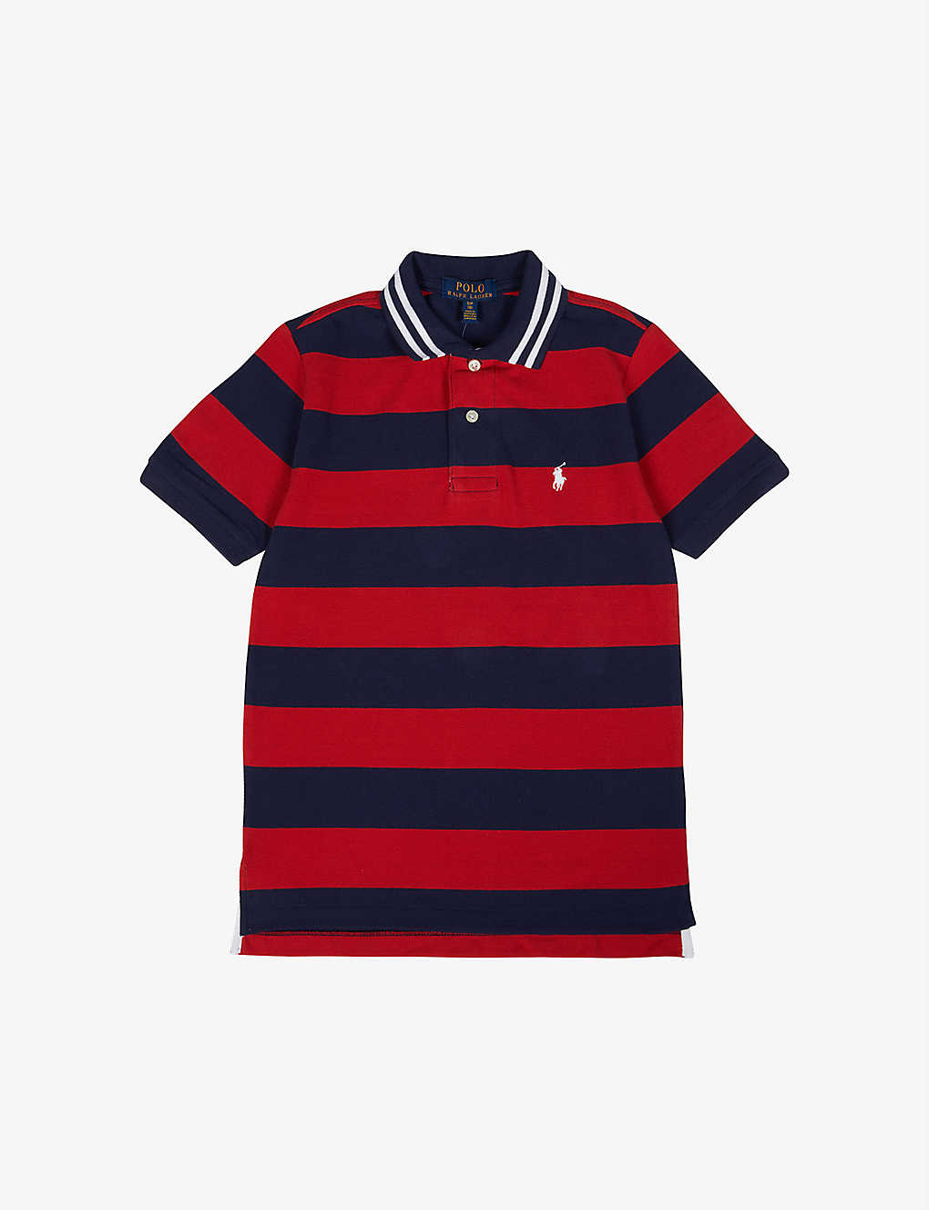 RALPH LAUREN: Logo-embroidered striped cotton polo shirt 2-14 years