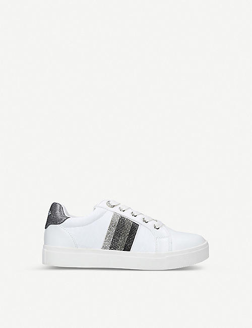 MISS KG: Kerry crystal-embellished faux-leather low-top trainers