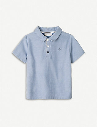 THE LITTLE WHITE COMPANY: Anchor-embroidered cotton-chambray polo top 1-6 years