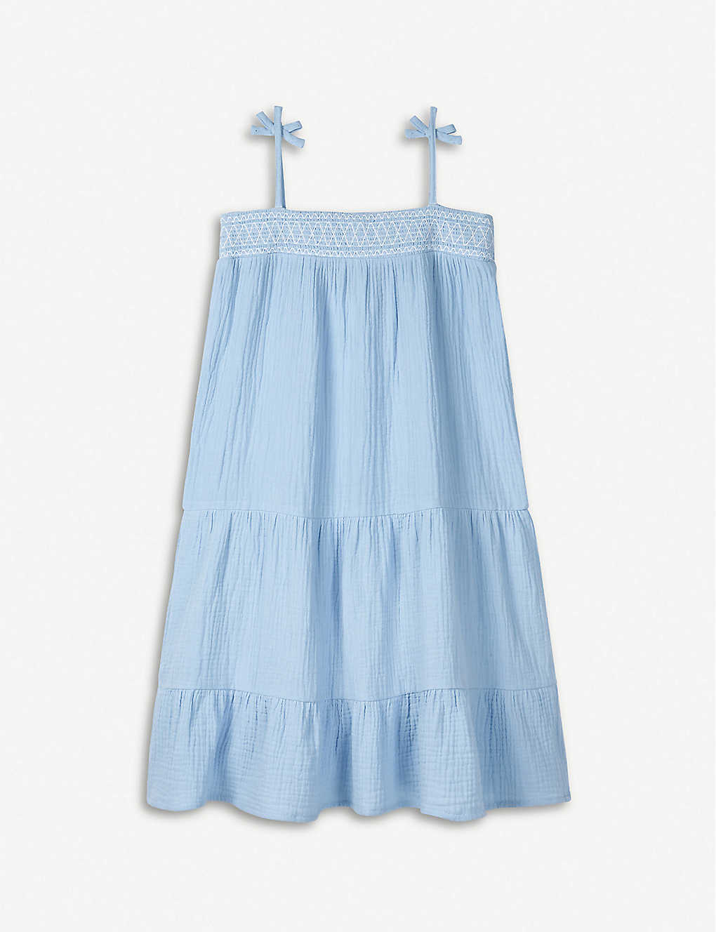 THE LITTLE WHITE COMPANY: Tiered strappy crinkle-cotton midi dress 1-6 years