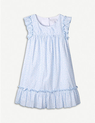 THE LITTLE WHITE COMPANY: Ruffle-trimmed floral-print cotton midi dress 1-6 years