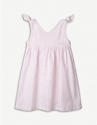THE LITTLE WHITE COMPANY: Striped tie-embellished cotton dress 1-6 years