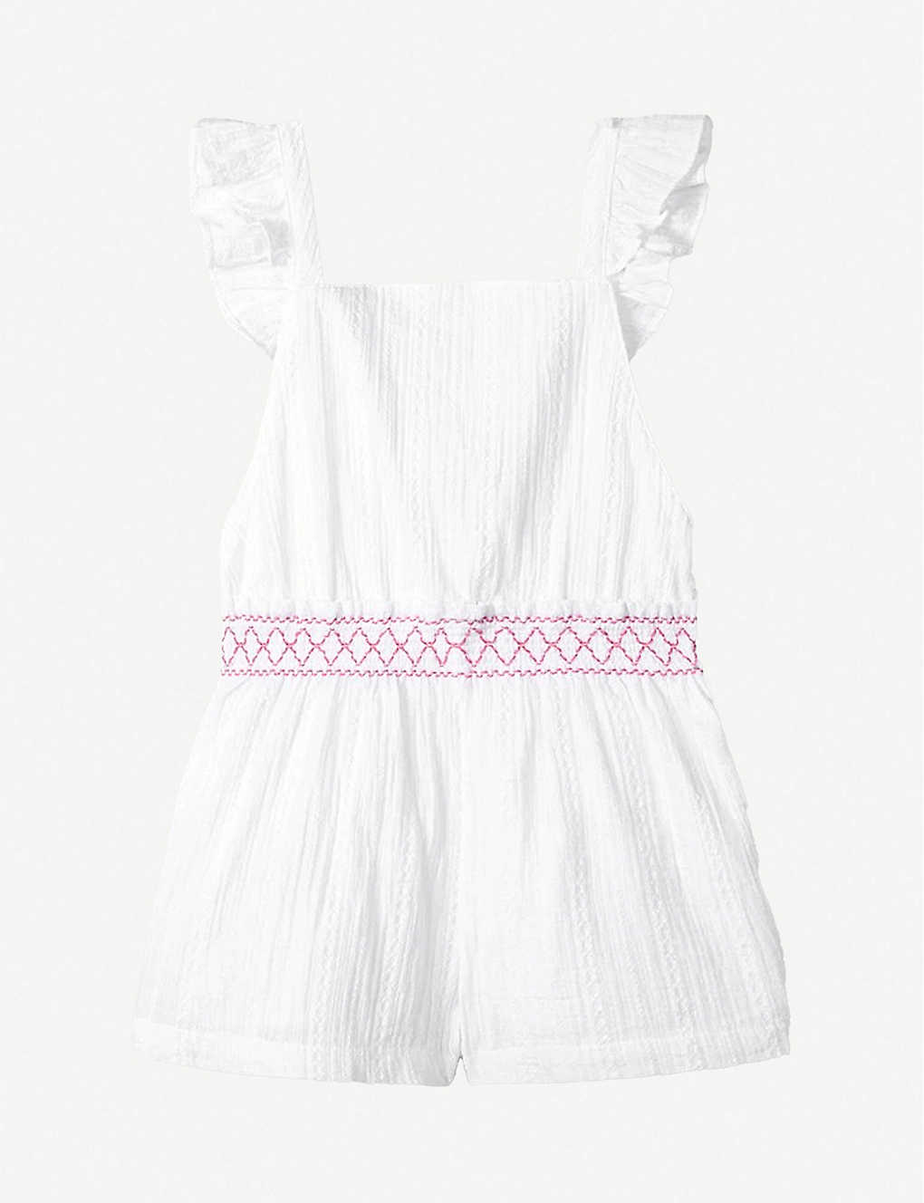 THE LITTLE WHITE COMPANY: Smocked-waist cotton playsuit 1-6 years