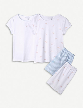 THE LITTLE WHITE COMPANY: Rainbow graphic-print cotton pyjamas set of two 1-12 years