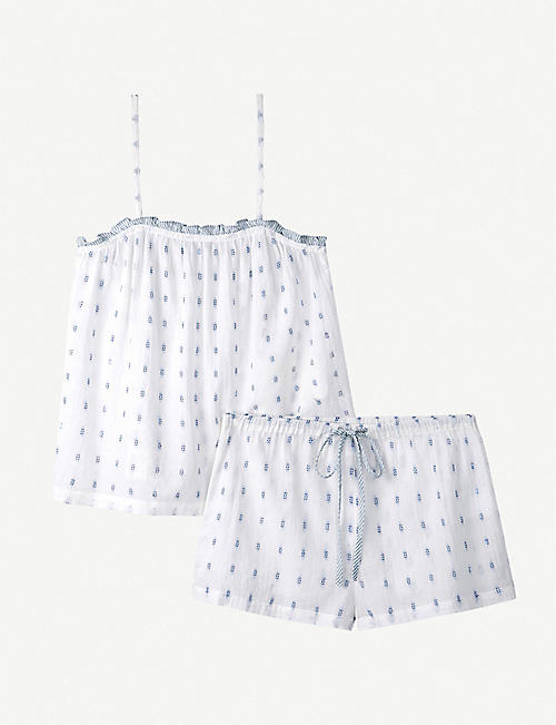 THE WHITE COMPANY: Ruffle-trimmed patterned short cotton pyjama set
