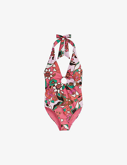 TED BAKER: Pinata floral-print plunge swimsuit