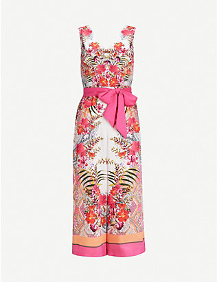 TED BAKER: Solana printed satin jumpsuit