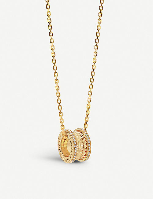 BVLGARI: B.zero1 18ct yellow-gold and diamond pavé pendant necklace