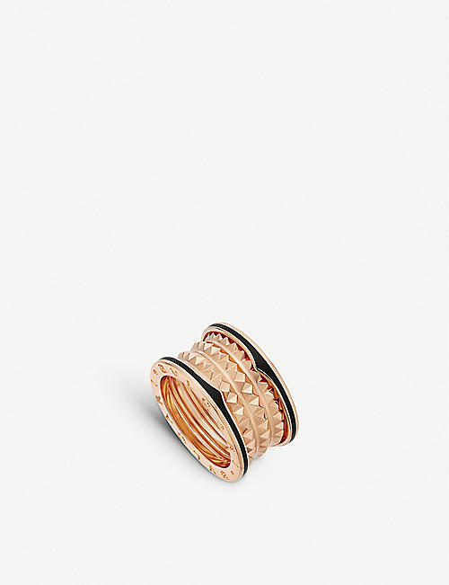 BVLGARI: B.zero1 18ct rose-gold and ceramic ring