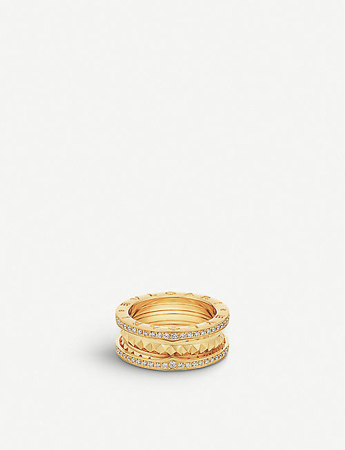 BVLGARI: B.zero1 18ct yellow-gold and diamond pavé ring