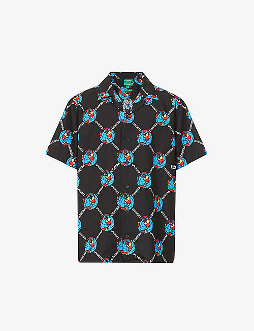 LACOSTE: Lacoste x Chinatown Market graphic-print stretch-woven shirt