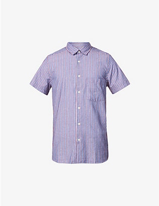 FRESCOBOL CARIOCA: Striped short-sleeved linen shirt