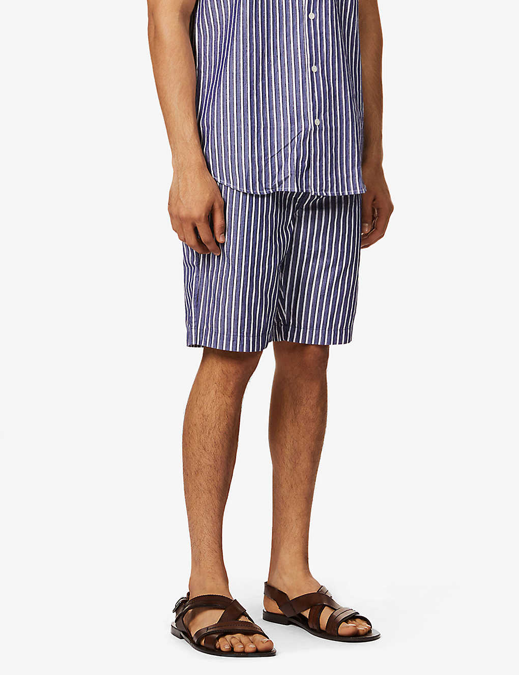 FRESCOBOL CARIOCA: Striped cotton-blend shorts