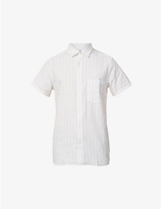 FRESCOBOL CARIOCA: Striped cotton-blend short-sleeved shirt